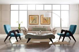Furniture  Formal Living Room With Cream Mid Century Sofa Near - Single chairs living room