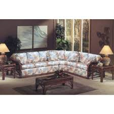 classic rattan caliente sectional patiosusa com classic rattan caliente sectional in medium brown finish and light blue floral fabric