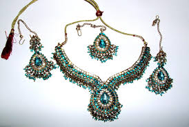 turquoise necklace sets images Turquoise gold indian jewellery set JPG