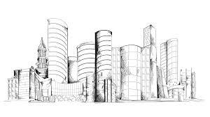 modern urban sketch city center with skyscraper building cityscape