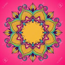 lacy arabesque designs round oriental ornament for greeting