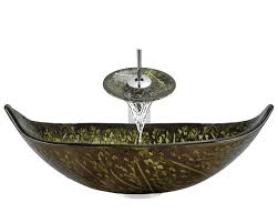 Vessel Sink Waterfall Faucet 643 Colored Glass Vessel Sink