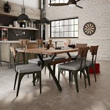 Rustic Industrial Dining Chairs 17 Stories Darcelle 7 Industrial Dining Set Reviews Wayfair
