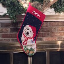 great pyrenees personalized dog needlepoint stocking