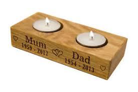memorial tea light candle holder personalised solid oak memorial tea light candle holder remembrance