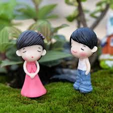 home garden decoration new 2pc sweet boys girls couple mini micro landscape resin home
