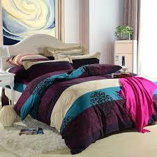 Purple Floral Comforter Set Girls Dark Purple And Teal Printed Stripe And Floral Bedding Sets