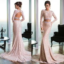 long sleeve lace prom dress elegant two pieces open back mermaid
