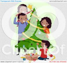 cartoon of a happy black family decorating a christmas tree