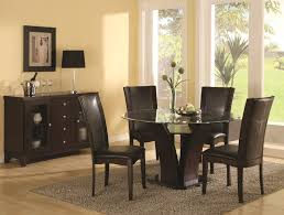 elegant brown and black polished mahogany wood dining table chairs