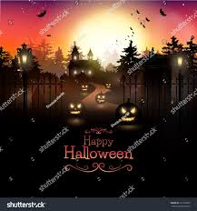 scary graveyard woods halloween background stock vector 312729365