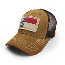 North Carolina Flag North Carolina Flag Trucker Hat Structured Tobacco Brown Surf