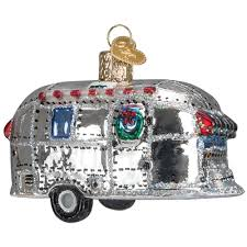 silver bullet style vintage trailer blown glass ornament