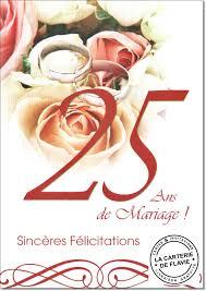 25 ans de mariage carte anniversaire de mariage 25 ans livraison gratuite