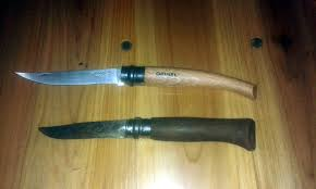 my new opinel effilé n 10 beside my 10 year old opinel n 9 knives