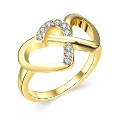 gold fine rings images Gold colour heart to heart ring with 24k gold fine jewelry for jpg