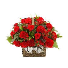 Red Carnations Red Carnation Basket Giftskorea Com