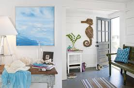 Beach House Decorating Blue White Stripe Towel Wooden Folding Table Coastal Home Decor
