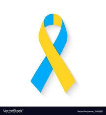 blue and yellow ribbon world day blue and yellow ribbon vector image