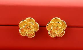 real gold earrings qoo10 24k real gold earrings 24k real gold sheets jewelry