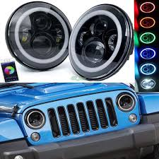 jeep wrangler auto parts auto parts 50w led 7inch headlights with bluetooth rgb halo 2pcs