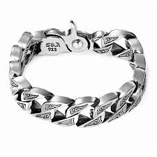 silver bracelet styles images 925 sterling silver open cuff bracelets for big men 39 s punk style jpg