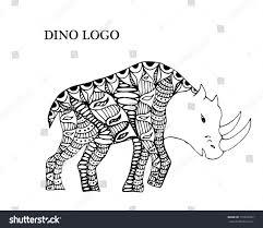 woolly rhinoceros cartoon hand drawn vector stock vector 715072057