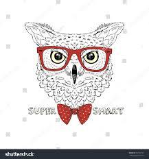 hand drawn fashion portrait geek owl stock vector 297722735