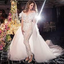 wedding dress jumpsuit discount beaded appliqued lace jumpsuit wedding dresses 2017 two