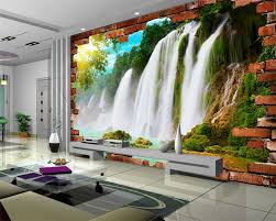 popular brick wall murals buy cheap brick wall murals lots from beibehang large 3 d custom wallpaper landscape scenery brick wall mural wallpaper waterfall pictures wallpaper for