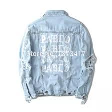 light distressed denim jacket top quality pablo denim jackets men hip hop brand clothing