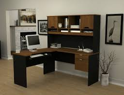 I Shaped Desk by Furniture L Shaped Desk With Hutch In Brown And Black Plus