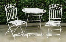 Ornate Metal Folding Bistro Chair Decorative French Vintage Folding Metal Wholesale Bistro Sets