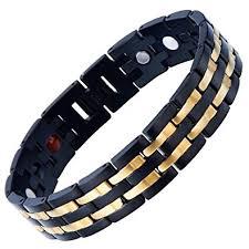 mens black link bracelet images Exquisite stainless steel mens magnetic bracelet gold jpg