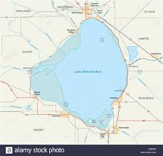 Map Of State Of Florida by Vector Road Map Of Lake Okeechobee In The Us State Of Florida