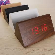 Wood Desk Clock Wooden Triangular Led Alarm Digital Desk Clock Sound Control