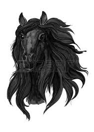 arabian horse sketch of galloping purebred mare horse with raised