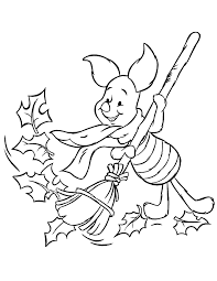 piglet raking fall leaves coloring u0026 coloring pages