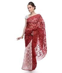dhakai jamdani saree buy online samayra maroon and white color muslin cotton dhakai jamdani saree