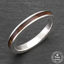 3mm ring platinum ring with koa wood inlay 3mm flat shape comfort fitment