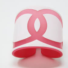 monogrammed cuff bracelet limited edition resin big cc monogram logo cuff bracelet pink