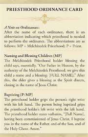 blessing card priesthood ordinance card lds reference how to give a blessing