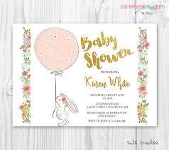 rabbit invitation bunny baby shower girl invitation floral bunny baby shower