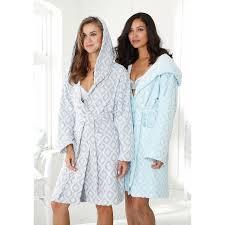 robe de chambre eponge femme peignoir de bain à capuche motifs losanges en éponge femme my home
