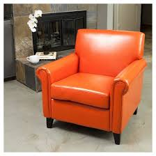 rolled arm club chair orange leather christopher knight home