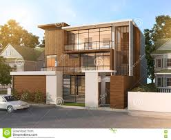 Modern Style Home 3d Rendering Nice Modern Style Wood House In Beautiful Village