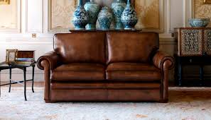 traditional sofa linen leather 2 seater carmen fleming