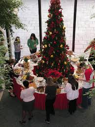 buffet table around the christmas tree a great way to use our