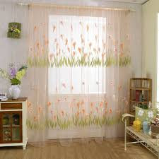 alocasia macrorrhizos flowers print tulle window curtain balcony