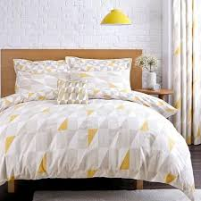 Geometric Duvet Cover Skandi Geometric Yellow Reversible Duvet Cover And Pillowcase Set